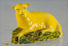 A Rare English Staffordshire Pottery Yellow Ground Ewe C1790-1810 18Th Century