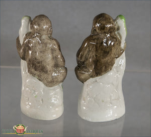 A Wonderful And Rare Pair Of English Staffordshire Gorillas C1860 Post 1840 Figures