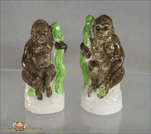 A Wonderful And Rare Pair Of Antique English Victorian Staffordshire Gorillas C1860 Post 1840 Figures
