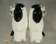 A Wonderful Pair Of English Staffordshire Disraeli Dogs Holding Baskets Pre 1840 Figures