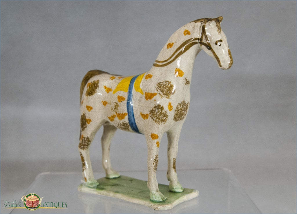 An Antique English Pearlware Staffordshire Pottery Figure Of A Horse In Pratt Colors C1780-1800 Pre
