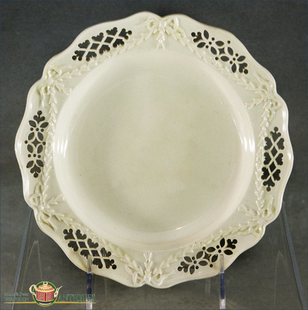 An Antique English Creamware Dessert Plate With Pierced Open Work And Moulded Border C1780-90 18Th Century