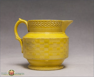 An English Creamware Engine Turned Jug In Yellow Glaze C1820 19Th Century Pottery
