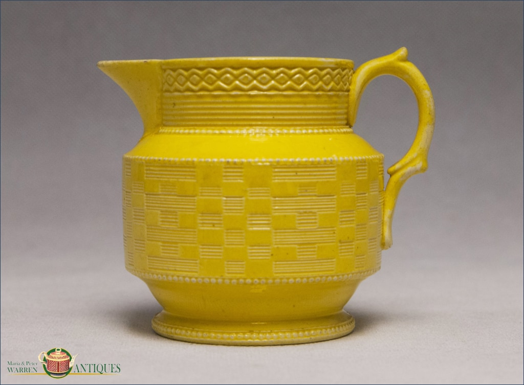 An Antique English Creamware Engine Turned Jug In Yellow Glaze C1820 19Th Century Pottery