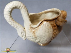 An English Creamware Fox And Swan Sauceboat In Pratt Colors C1790-1800 18Th Century Pottery