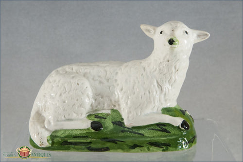 An English Pearlware Staffordshire Pottery Sheep On A Green Base C1790-1800 Pre 1840 Figures
