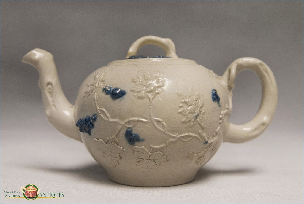 An English Saltglaze Teapot With Applied Relief C1750 Archive