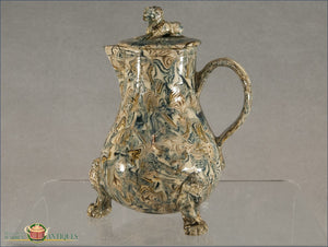 An English Staffordshire Solid Body Agate Milk Jug And Cover C1750-60