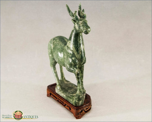 Chinese Export Hardstone Carving Of A Deer C1920 Decorative Arts