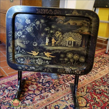 Chinese Export Laquer Papier Mache Tray C1880 On Contemporary Tilt-Top Table Stand 19Thc Furniture