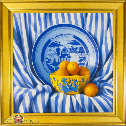 https://warrenantiques.com/products/contemporary-still-life-of-oranges-spilling-out-of-yellow-dragon-bowl-20thc
