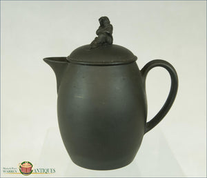 English Basalt Wedgwood Creamer With Widow Knop