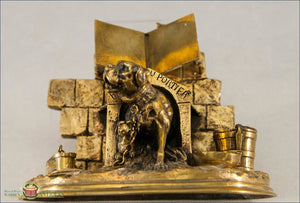 English Brass Inkwell With A Dog Puppy And Cat C1880 Decorative Arts