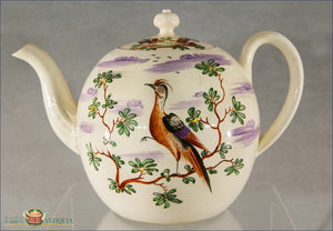 English Creamware Teapot Decorated By David Rhodes C.1770 Creamware