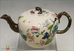 English Salt Glaze Teapot With Polychrome Enamel Saltglaze