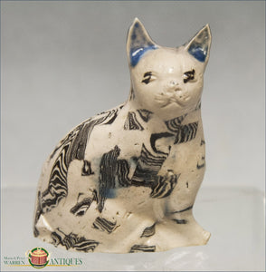 English Saltglaze Agate Cat C1750 19Th Century Pottery