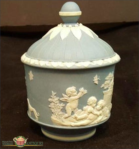 English Wedgwood Jasper Sugar Bowl And Cover C1790-1800 19Th Century Pottery