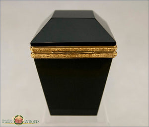 French Black Opaline Crystal Box C1880 Decorative Arts