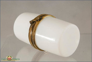 French White Opaline Box With A Gilt Mount In The Form Of Hand C1880 Decorative Arts