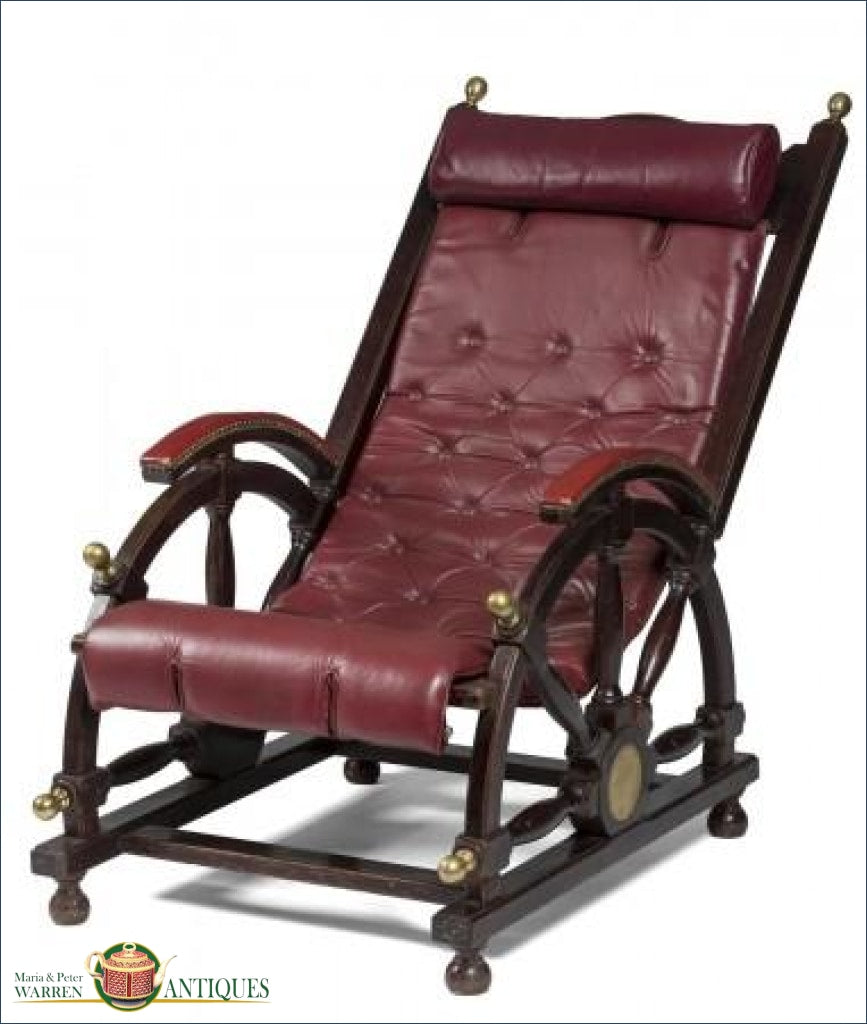 Late 19Th Early 20Thc Mahogany And Red Leather Deck Chair With Brass Accents