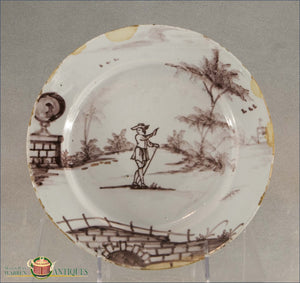 London Delft Manganese Plate With A Traveler Recent Acquisitions