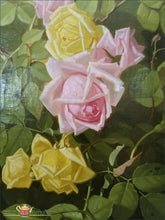 Still Life Of Yellow And Pink Roses - Edward Chalmers Leavitt Dated 1889 Painting From The 19Thc