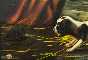Three Puppies And A Toad- Folk Art Painting