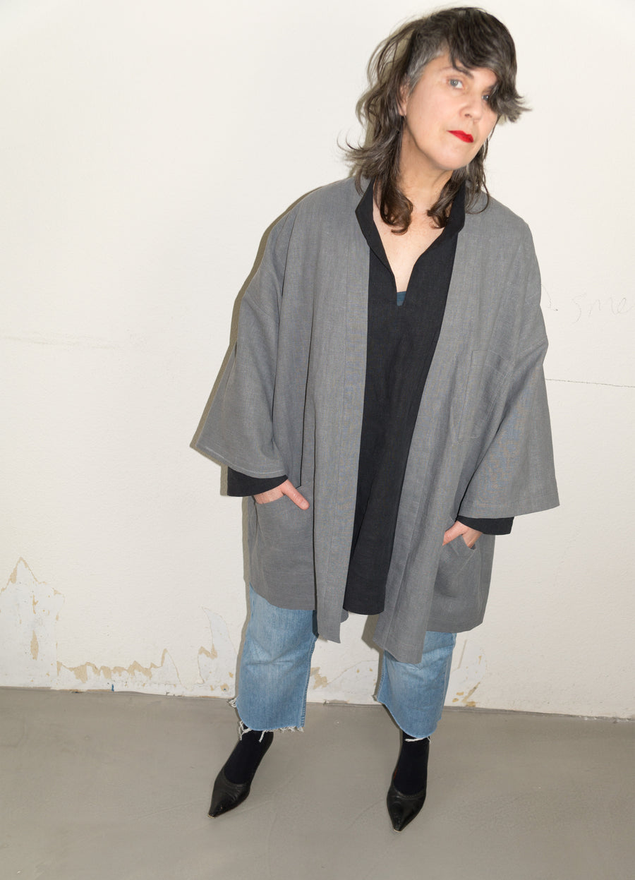 Japanese dust coat grey linen