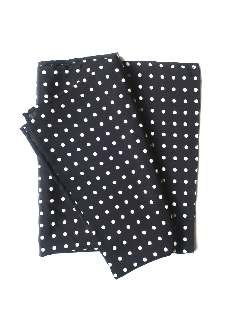 silk neckerchief Polkadot B/W