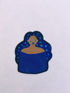 Starry Blue Girl Reflective Sticker