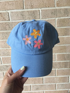 Embroidered Flower Hat Blue