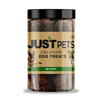 JUST CBD - BEEF WRAPS DOG TREATS JAR 100MG