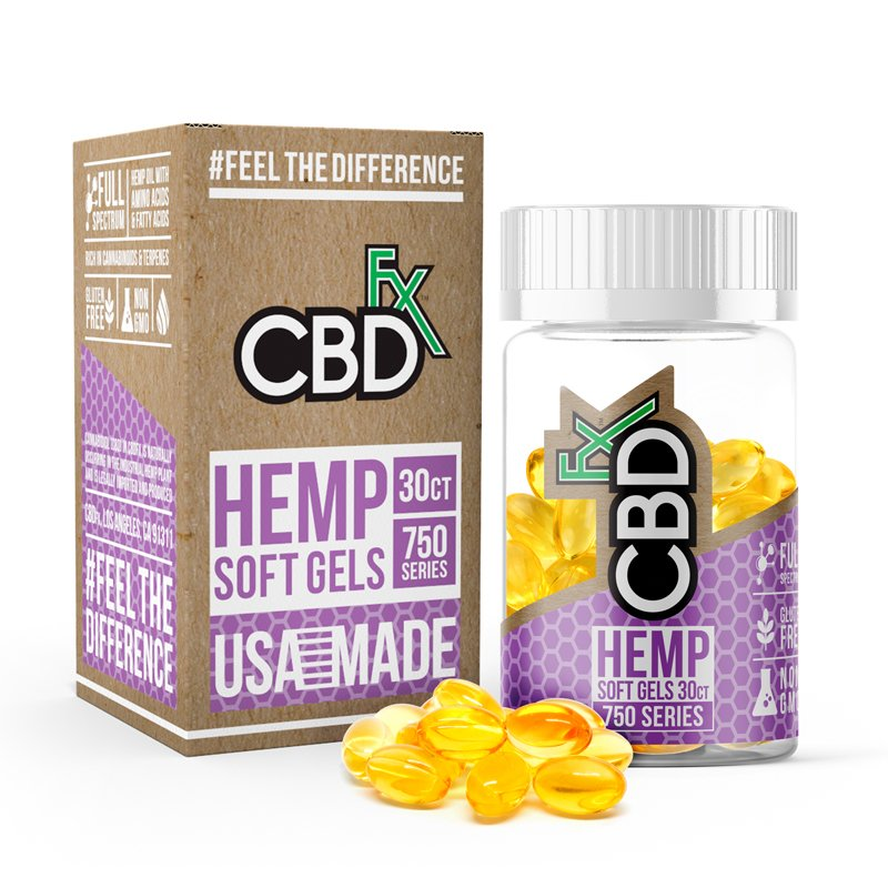 CBD FX - HEMP CAPSULES 25MG EACH 30CT JAR 750MG