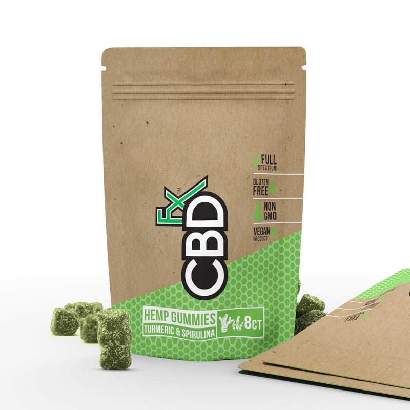 CBD FX - HEMP ANTIOXIDANT GUMMY BEARS WITH TURMERIC & SPIRULINA 10MG 8CT POUCH 30CT DISPLAY