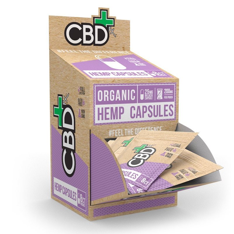 CBD FX - HEMP CAPSULES 25MG EACH 8CT POUCH 200MG DISPLAY OF 30