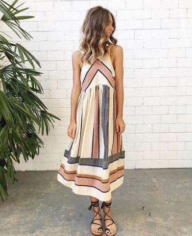 2018 Hot Sale Brand New Women Summer Dress Plus Size O Neck Sleeveless Long Dress Boho Beach Print Stripe A Line Dresses Vestido