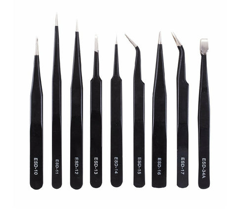 ESD anti-static tweezer set of 9