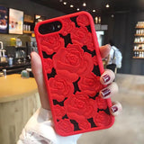3D Hollow Rose Soft Silicone Phone Cases For iPhone X 8 7 6 6S Plus Case Fashion TPU Gel Roses Flower Back Cover Lady Girl Shell