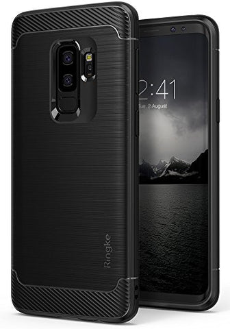 Galaxy S9 Plus Case, Ringke [Onyx] Brushed Metal Design [Flexible & Slim] Dynamic Stroked Line Pattern Durable Anti Slip Impact Shock Absorbent Case for Samsung Galaxy S9 Plus (2018) - Black