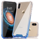 iPhone X Case, BAISRKE Blue Purple Gradient Shock-Absorption TPU Soft Edge Bumper Anti-Scratch Rigid Slim Protective Cases Hard Plastic Back Cover for Apple iPhone X (2017)