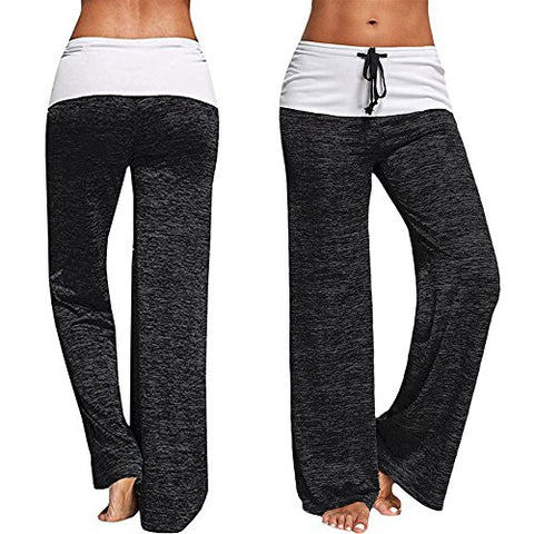 CROSS1946 Fashion Women's Elastic High Waist Yoga Drawstring Pants Straight-Leg Workout Trousers Loose Fit