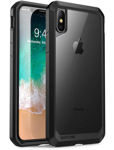 SUPCASE iPhone X Case, Unicorn Beetle Series Premium Hybrid Protective Frost Clear Case for Apple iPhone X 2017 (Clear/Black)