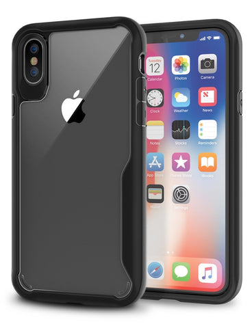 iPhone X Case, New Black Bumper with Crystal Clear Back Panel iPhone X Case, 99.9% Transparency, Clear back panel + Black TPU bumper