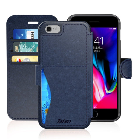 iPhone 6/6S Plus Leather Wallet Case with Cards Slot and Metal Magnetic, Slim Fit and Heavy Duty, TAKEN Plastic Flip Case / Cover with Rubber Edge, for Women, Men, Boys, Girls, 5.5 Inch (Blue)