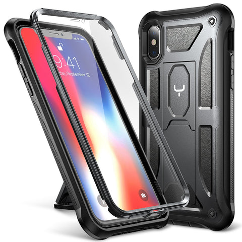iPhone X Case, YOUMAKER Full Body Rugged Kickstand with Built-in Screen Protector Heavy Duty Protection Shockproof Case Cover for All New Apple iPhone 10 (2017 Edition) 5.8 inch (Black/Black)