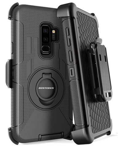 Galaxy S9 Plus Case, Samsung Galaxy S9 Plus Case, BENTOBEN Shockproof Heavy Duty Hybrid PC Silicone Full Body Rugged Kickstand Belt Clip Holster Protective Phone Case for Samsung Galaxy S9 Plus Black