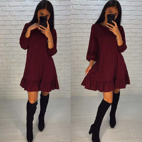 AISORIG 2018 Spring New Fashion Dress Women Casual O-neck three quarter Lantern Sleeve Hem Ruffles Loose Dresses Party Vestidos