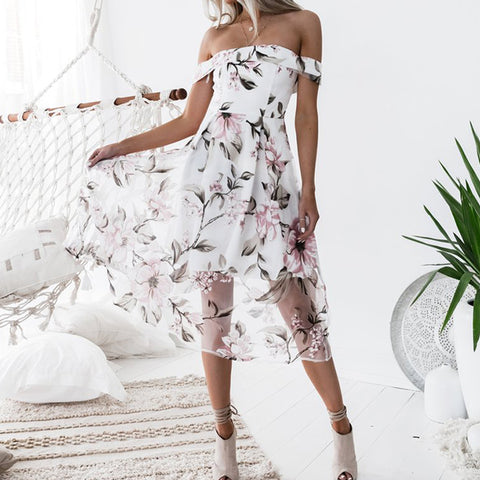 Fashion Women Summer Beach Dresses Floral Print Off Shoulder Elegant Dress Vestido WS5272R