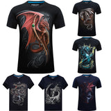 Fashion t shirt Homme 2017 Short Sleeve Dragon 3D T Shirt O-Neck Slim Men Camisetas Hombre tees marcelo anime T Shirt homme mma 1 2