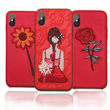 GETIHU Embroidery Helianthus Phone Case For iPhone 6 6S 7 8 Plus Cover Coque Luxury Case For iPhone X 10 7 6 8 Plus Cases Capa